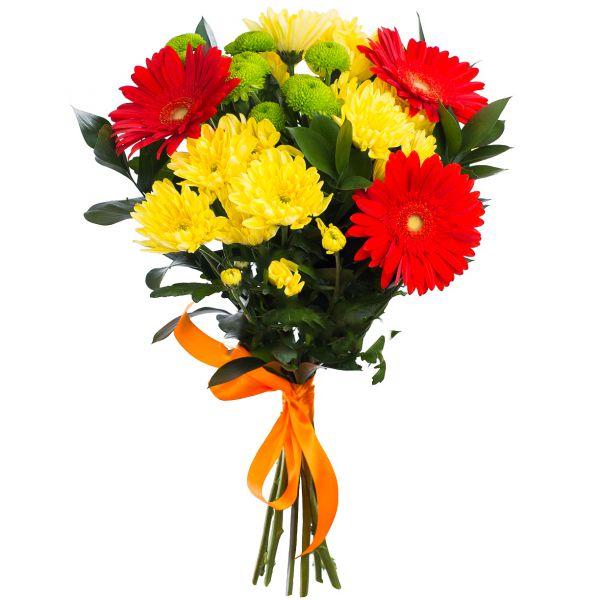 Кустовая хризантема с герберой фото